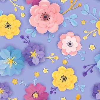 Бумага вырезать цветочные бесшовные модели. весенние цветы оригами фон ботанический дизайн для ткани, текстуры, печати, обоев. векторная иллюстрация