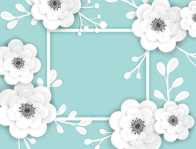 Бумага срезанные цветы кадр шаблон поздравительной открытки. декоративный дизайн с трехмерными цветочными элементами оригами для весеннего баннера, брошюры, плаката. свадебный модный фон. векторная иллюстрация