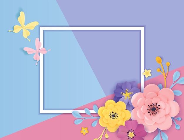 Paper cut flowers greeting card template. floral background frame origami style. botanical spring summer design for banner, poster. vector illustration