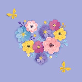 切り花グリーティングカードテンプレート。花の背景ハート折り紙スタイル。バナー、ポスターの植物の春夏のデザイン。ベクトルイラスト