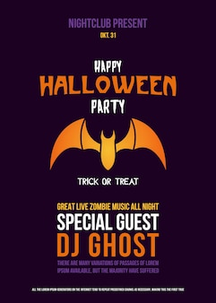 Paper cut flyer with bat for halloween celebration.