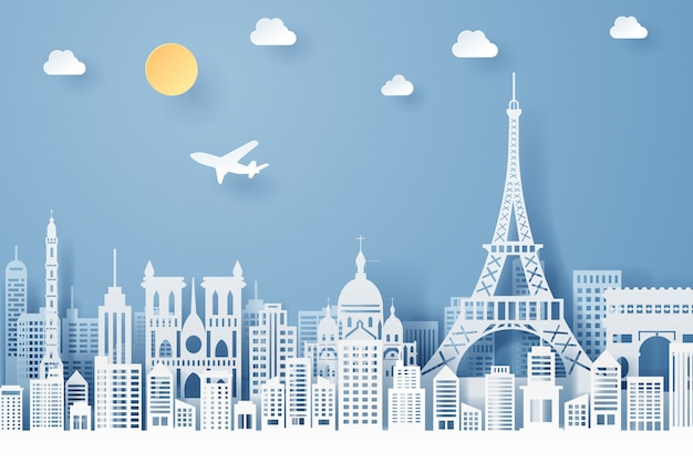 Paper cut of france landmark, travel and tourism concept