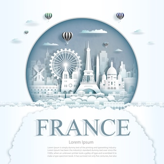 Paper cut france monuments with hot air balloons and clouds background template