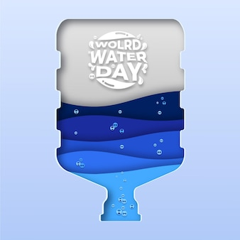 Paper cut gallon world water day