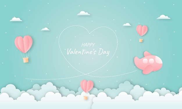 Paper cut happy valentine's day concept. hearts shaped hot air balloons and airplane flying on blue sky
