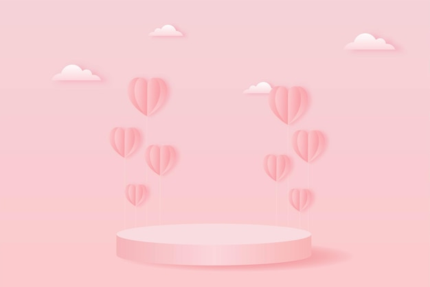 Paper cut happy valentine's day concept. landscape with cloud, heart shape balloons and geometry shape podium on pink sky background paper art style.
