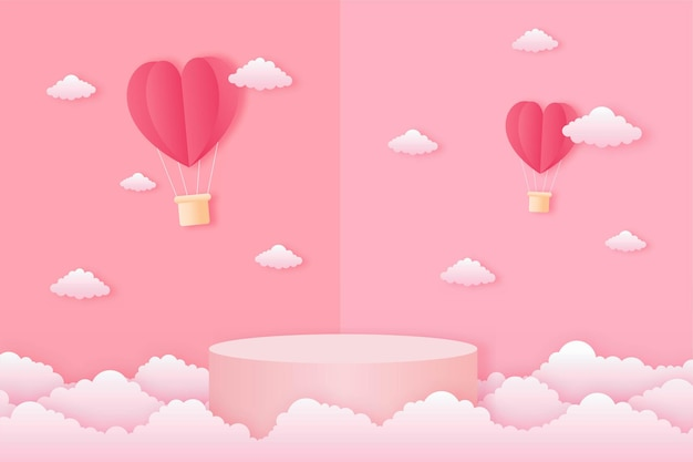 Paper cut happy valentine's day concept. landscape with cloud, heart shape hot air balloons flying and geometry shape podium on pink sky background paper art style.