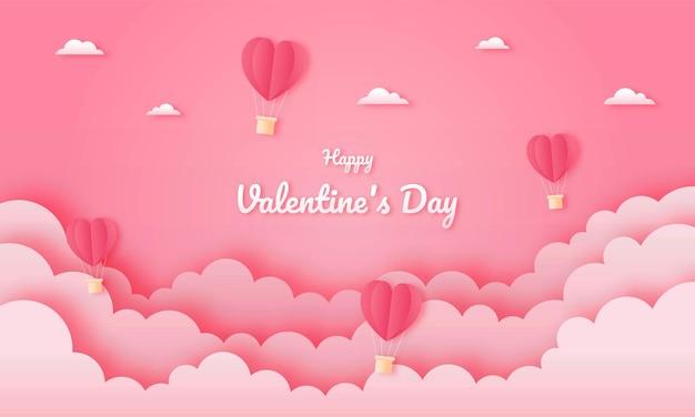 Бумага вырезать счастливую концепцию дня святого валентина.