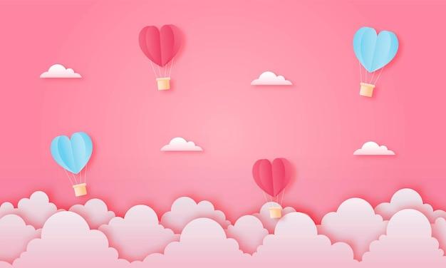ペーパーカット幸せなバレンタインデーのコンセプト。