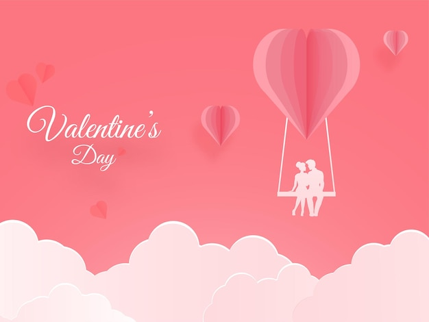 Paper cut heart swing with silhouette couple and clouds