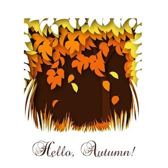 Paper cut hello autumn greeting card