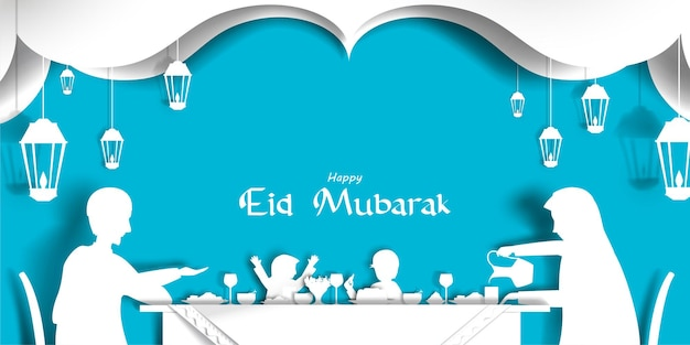 Paper cut illustration of happy family eat in dining table celebration eid festival