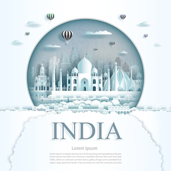 Paper cut india monuments with hot air balloons and clouds background template