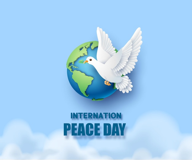 Paper cut of international peace day.