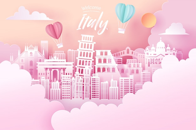 Paper cut of italy landmark, travel and tourism concept.