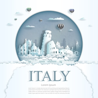 Paper cut italy monuments with hot air balloons and clouds background template