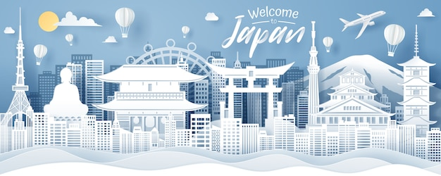 Paper cut of japan landmark, travel and tourism concept.