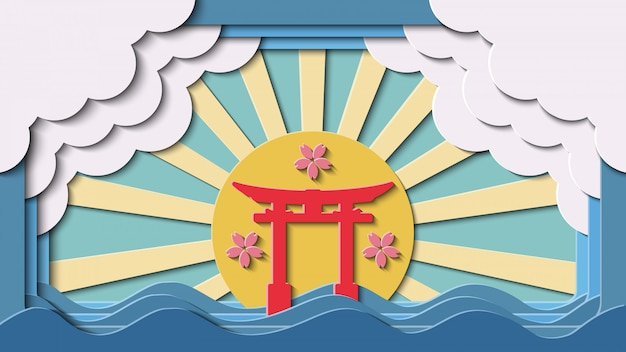 Paper cut japanese gate landmark vector background