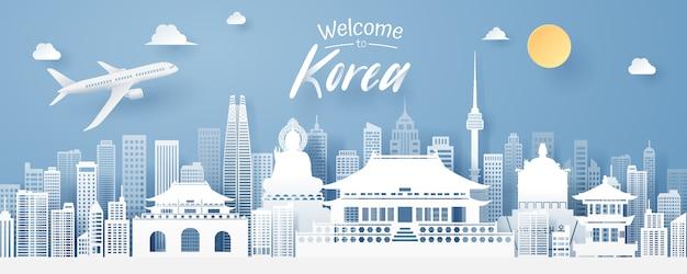 Paper cut of korea landmark, travel and tourism concept