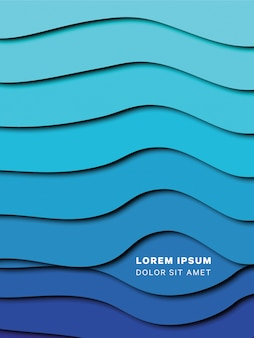 Paper cut layered waves background with smooth shadows for banners