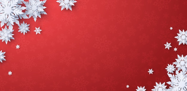 Paper cut merry christmas with snowflake on red