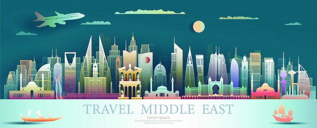 Paper cut middle east cityscape with plane