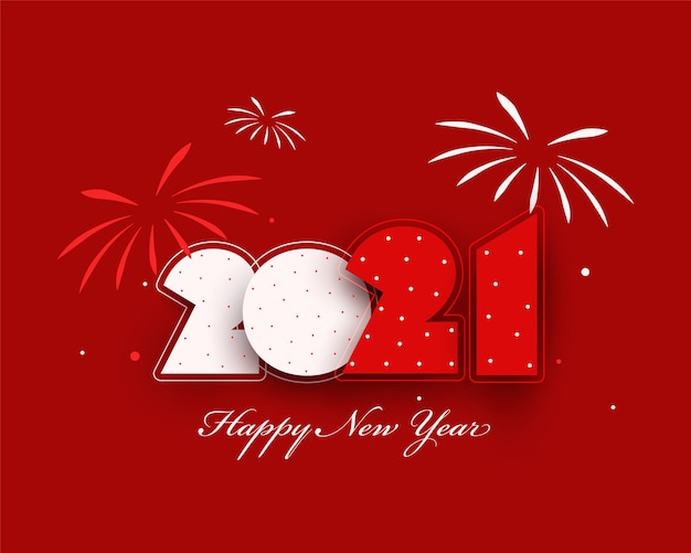 Paper cut number with fireworks on red background for happy new year.