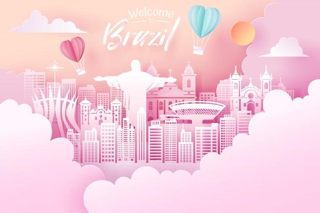 Отрезок бумаги ориентир ориентира бразилии, концепции перемещения и туризма.