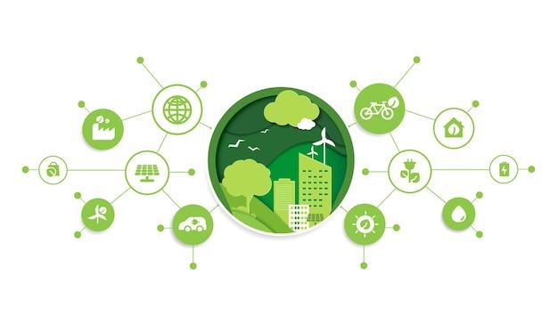 에코 기술 또는 환경 기술 개념의 종이 컷은 현대적인 녹색 도시와 내부에서 자라는 식물 잎입니다. 네트워크 연결을 통해 아이콘이 있는 친환경적인 도시 생활 방식. 벡터 디자인입니다.