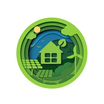 생태 및 환경 보전 창의적인 아이디어 개념 그린 에코 도시 도시의 종이 컷