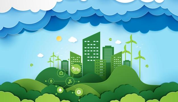 Вырезанный из бумаги экология и охрана окружающей среды, креативная идея, концепция зеленого эко городского города