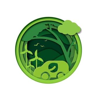 Бумага вырезать из экологически чистой с экологической машиной и природой сохранить планету природа окружающая среда расти