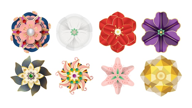 Paper cut origami flowers is elements for decorations. isolated illustration