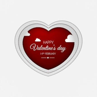 Paper cut out art style heart for valentine's day