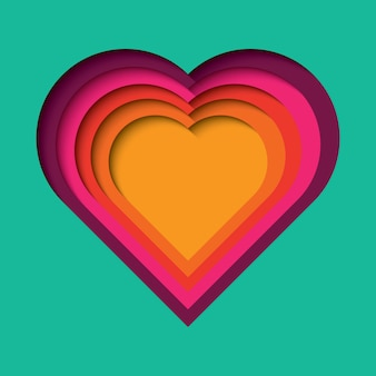 Paper cut out background with 3d effect, heart shape in vibrant colors
