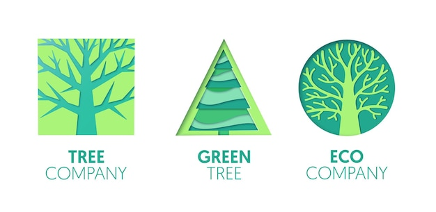종이 컷 아웃 로고 템플릿 세트 녹색 나무. 브랜딩, 브로셔, 아이덴티티에 대한 종이 접기 에코 회사 기호. 벡터 일러스트 레이 션