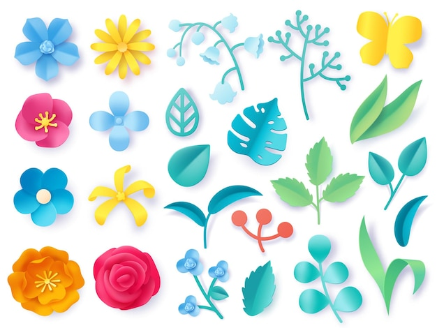 Paper cut plant leaves. realistic 3d origami twigs, flowers, branches and grass. spring and summer pastel blossom. floral craft vector set. colorful petals and bright butterfly for decor