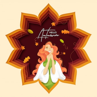 Paper cut poster or banner design of hello autumn.