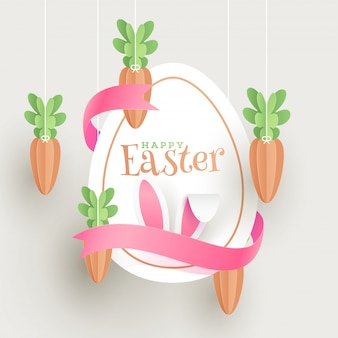 Paper cut poster or flyer design with illustration of easter egg