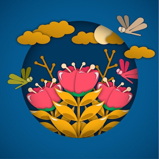 Paper cut rose flowers illustration design with dragonfly, moon, and clouds