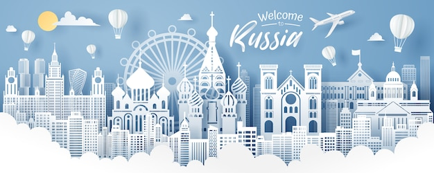Paper cut of russia landmark, travel and tourism concept.