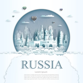 Paper cut russia monuments with hot air balloons and clouds background template