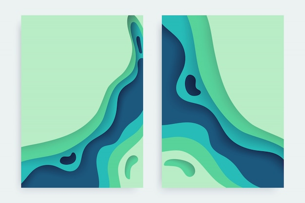 Paper cut set with 3d slime abstract background and blue green waves layers.