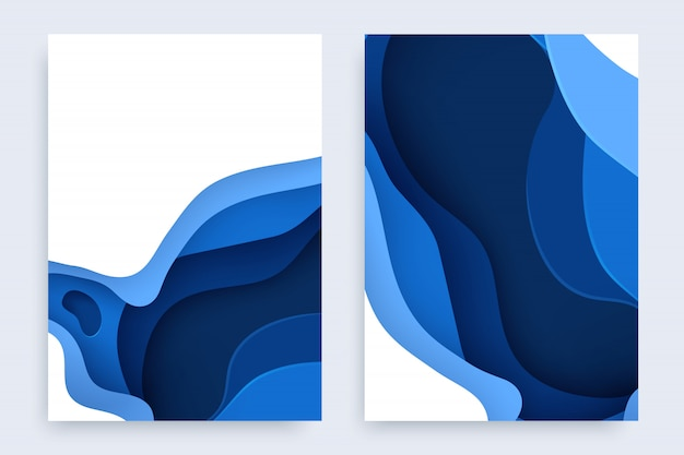 Paper cut set with 3d slime abstract background and blue waves layers