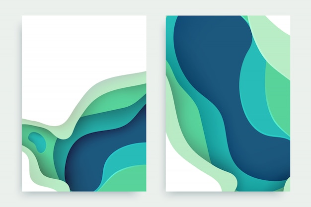 Paper cut set with 3d slime abstract background and green, cyan, blue waves layers.