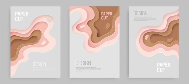 Paper cut set with 3d slime abstract background and pink, gray brown waves layers. abstract layout design.