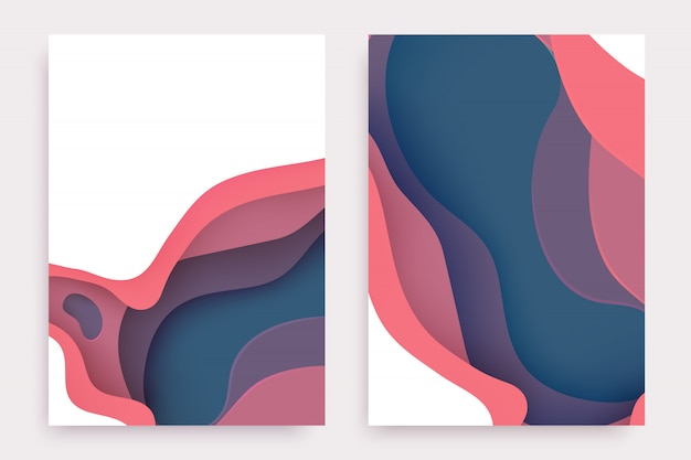 Paper cut set with 3d slime abstract background and pink, purple, blue waves layers.