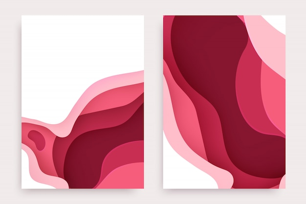 Paper cut set with 3d slime abstract background and red pink waves layers.