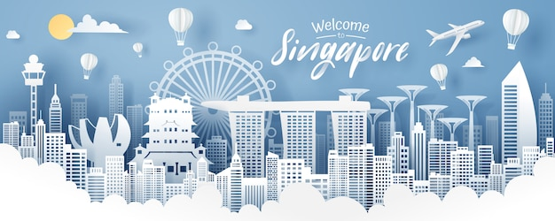 Paper cut of singapore landmark, travel and tourism concept