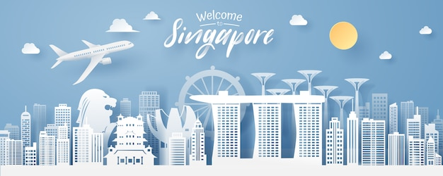 Paper cut of singapore landmark